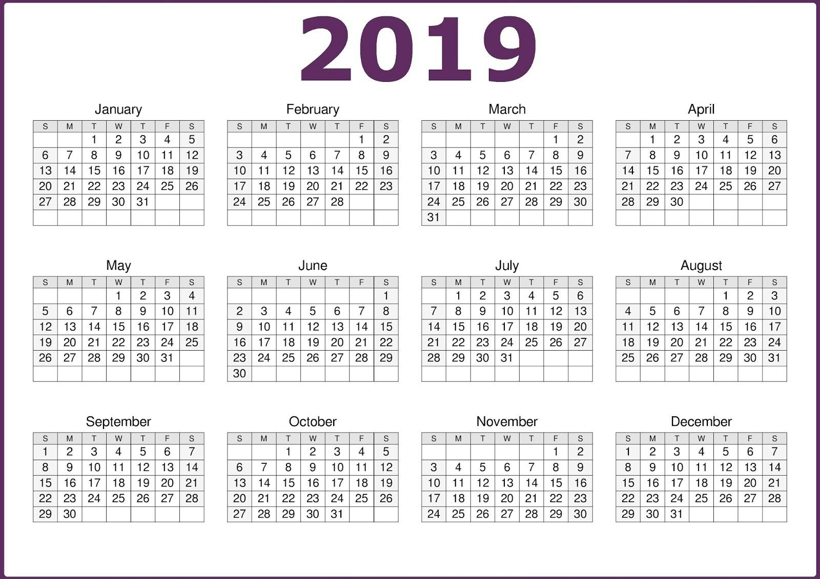 Microsoft Calendar Template 2019 | Calendar Printables pertaining to Printable 12 Month Calendar On One Page