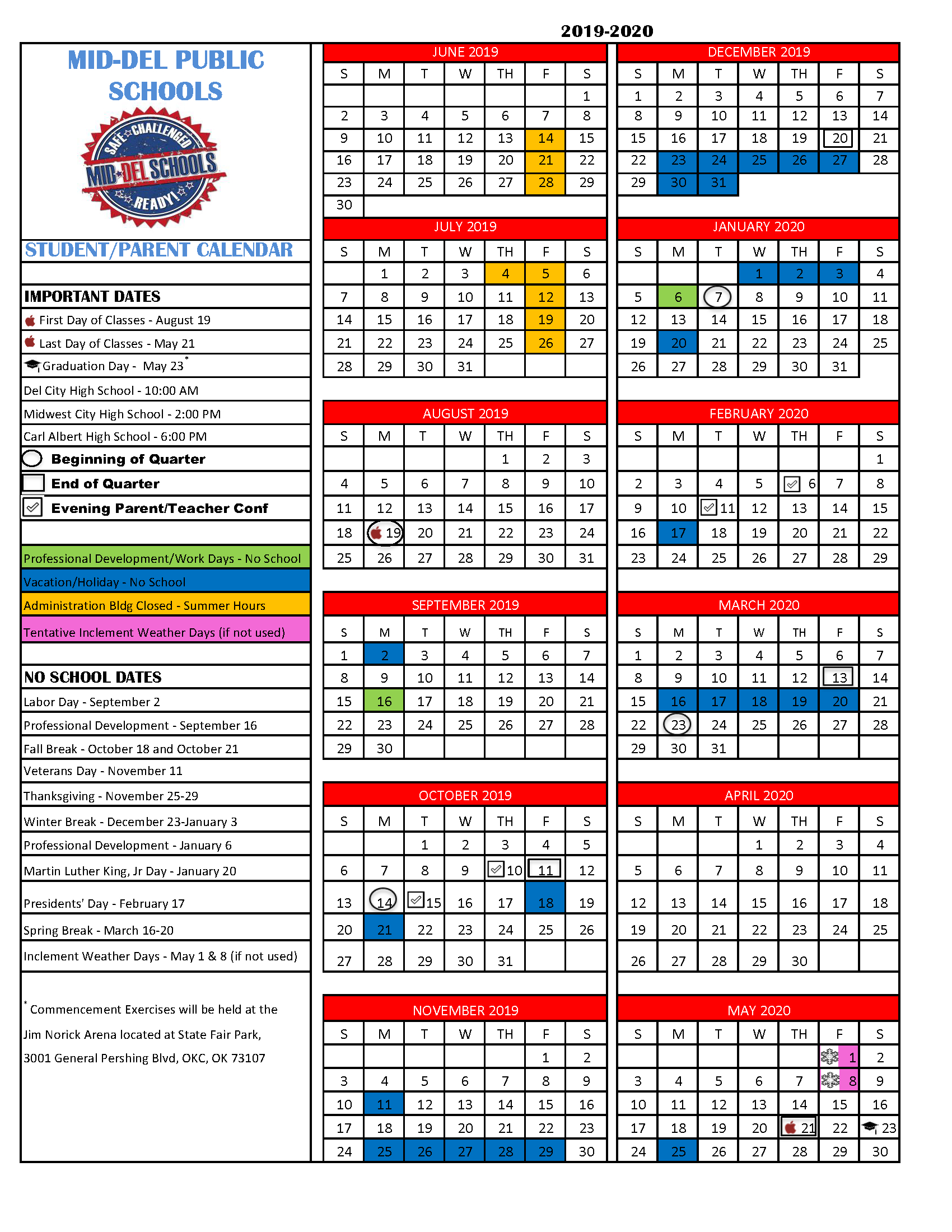 Middel School District intended for Nicoma Park Middle School Calendar