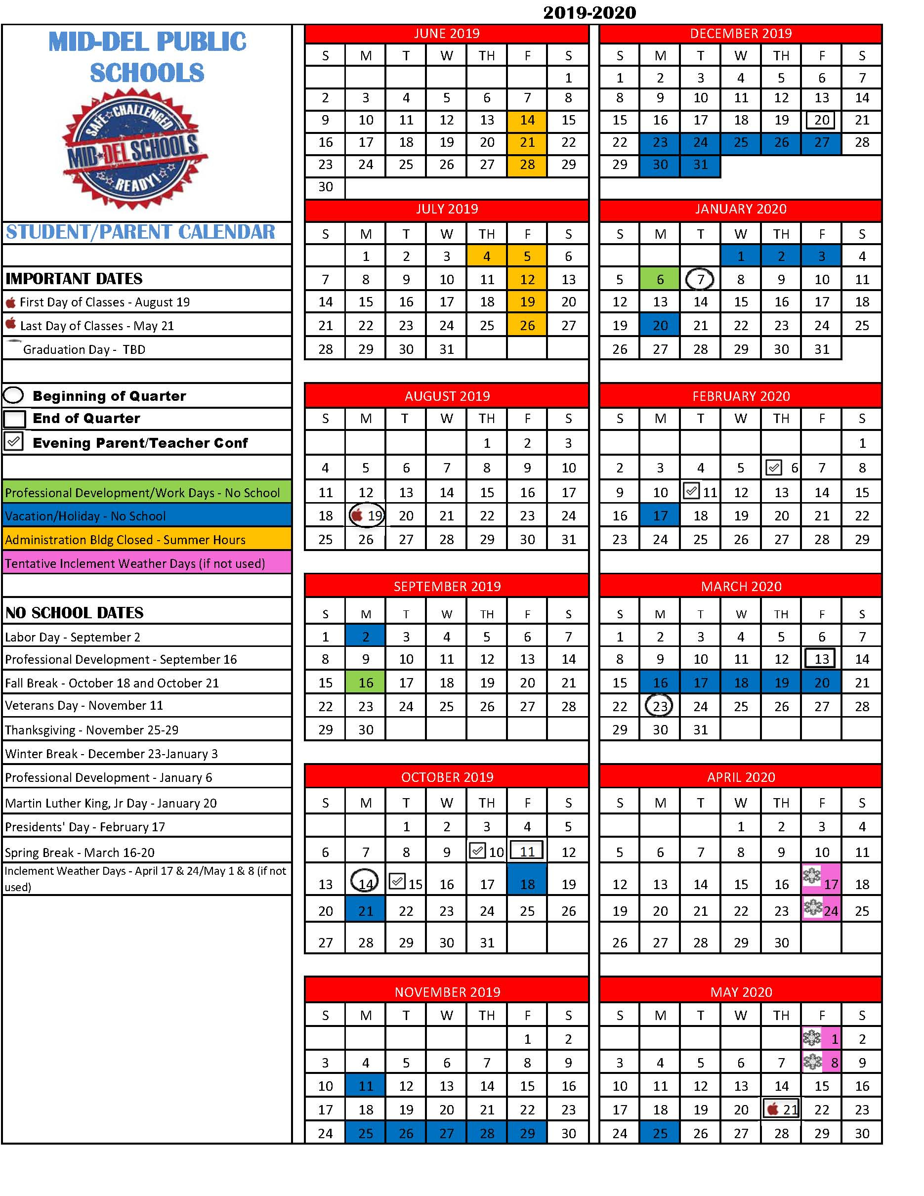 Middel Technology Center with Nicoma Park Middle School Calendar