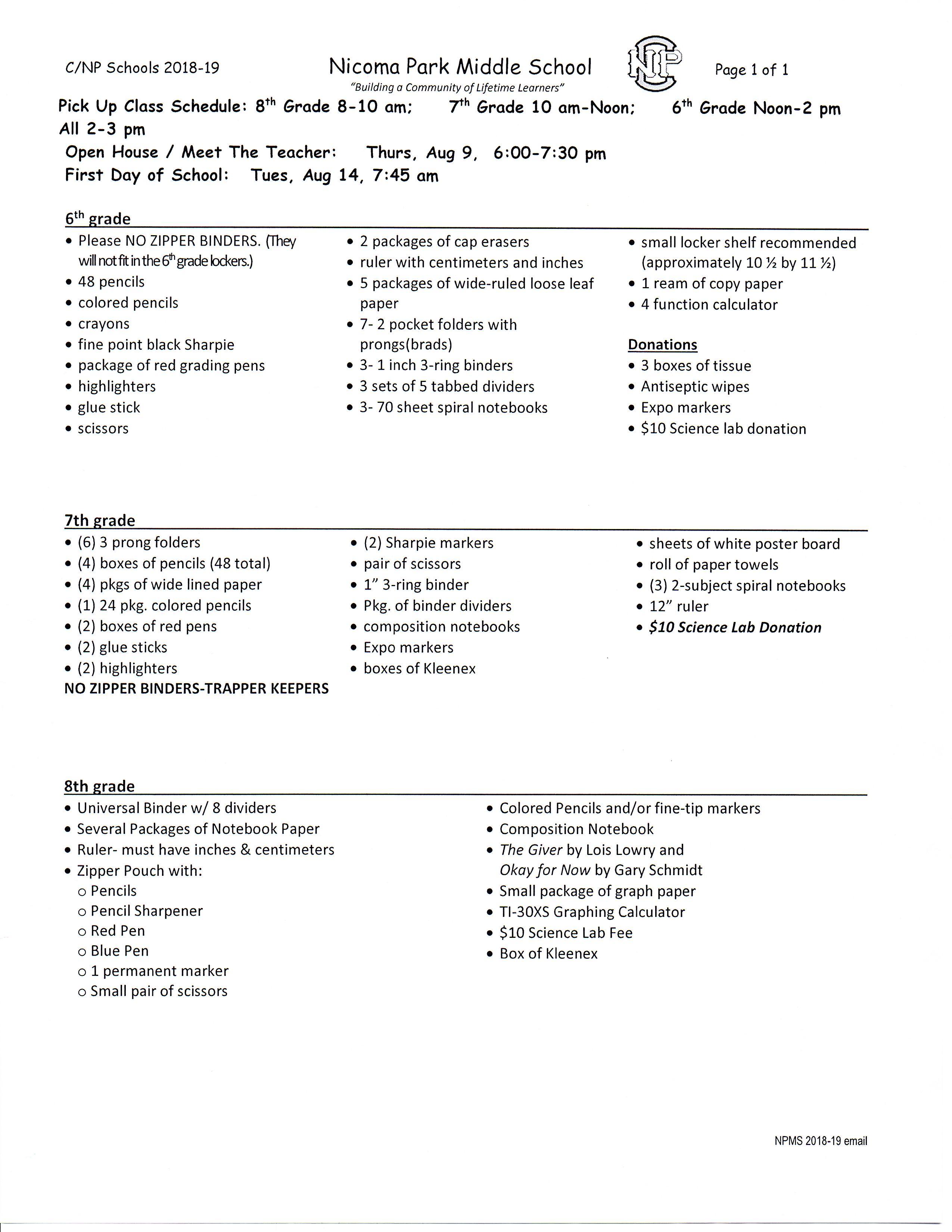 Middle School 7Th Grade School Supply List  School Style within Nicoma Park Middle School Calendar