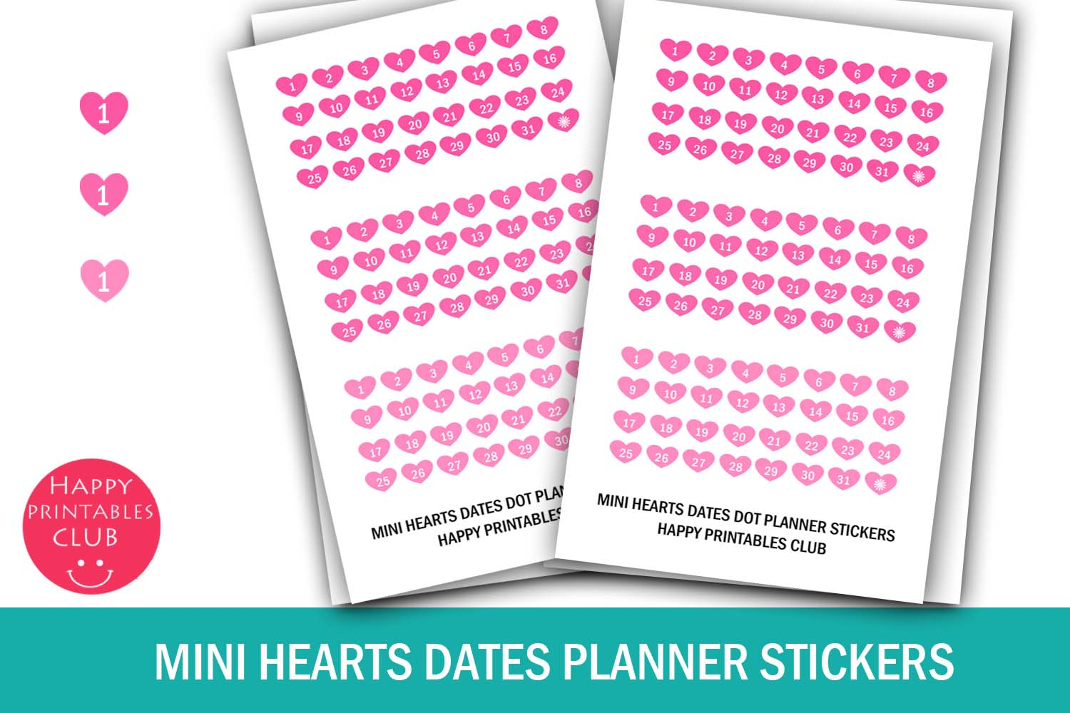 Mini Hearts Date Stickerscalendar Numbers 131 Planners in Calendar Numbers 1-31 Printable