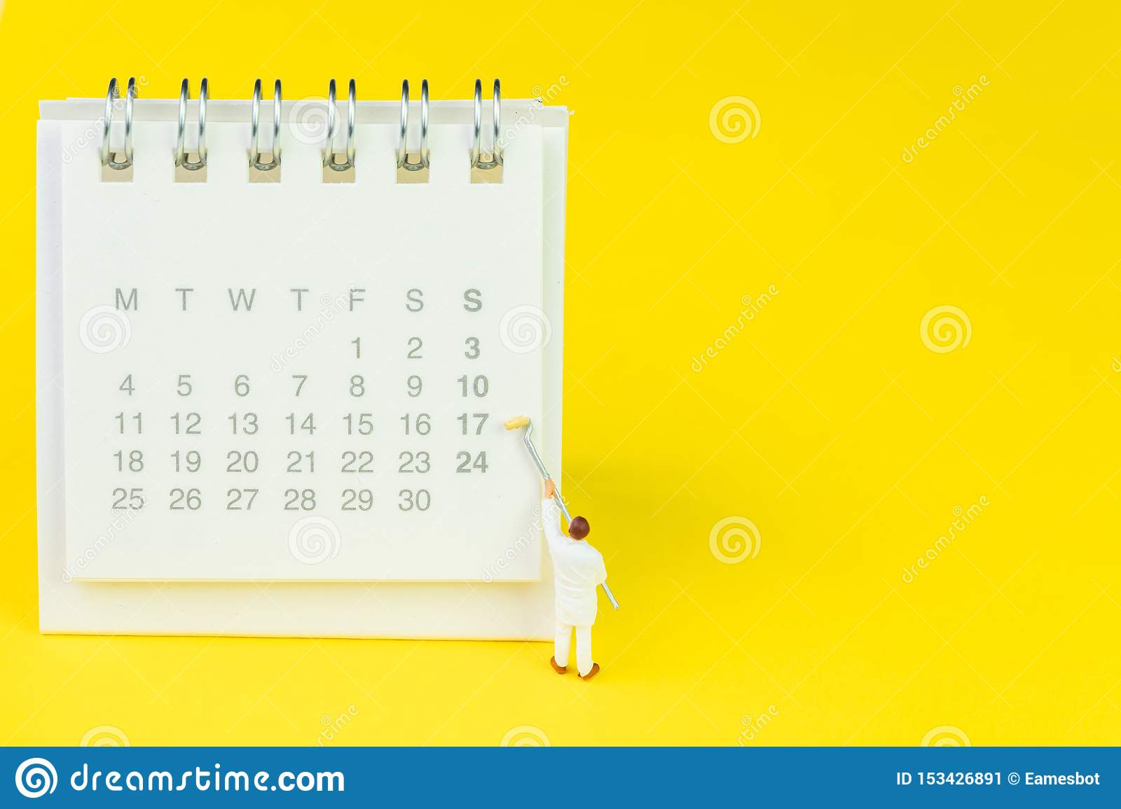 Miniature People Figures Using Paint Roller On White Clean with regard to Desktop Calendar Reminder Free Full Version