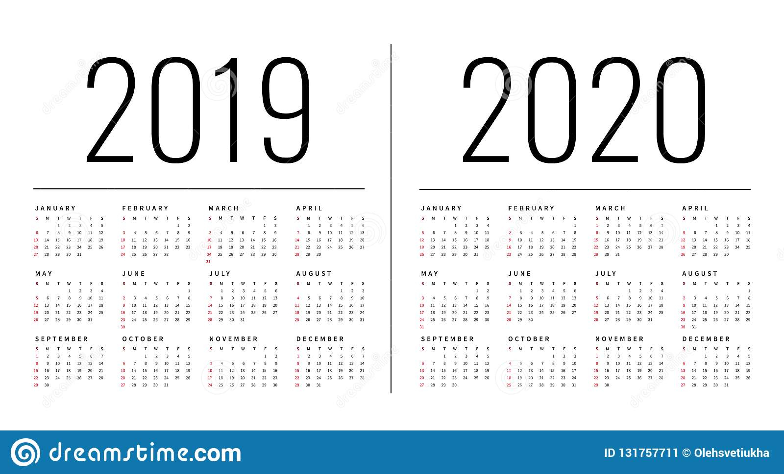 Mockup Simple Calendar Layout For 2019 And 2020 Years. Week throughout 2020 Calendar Mondays