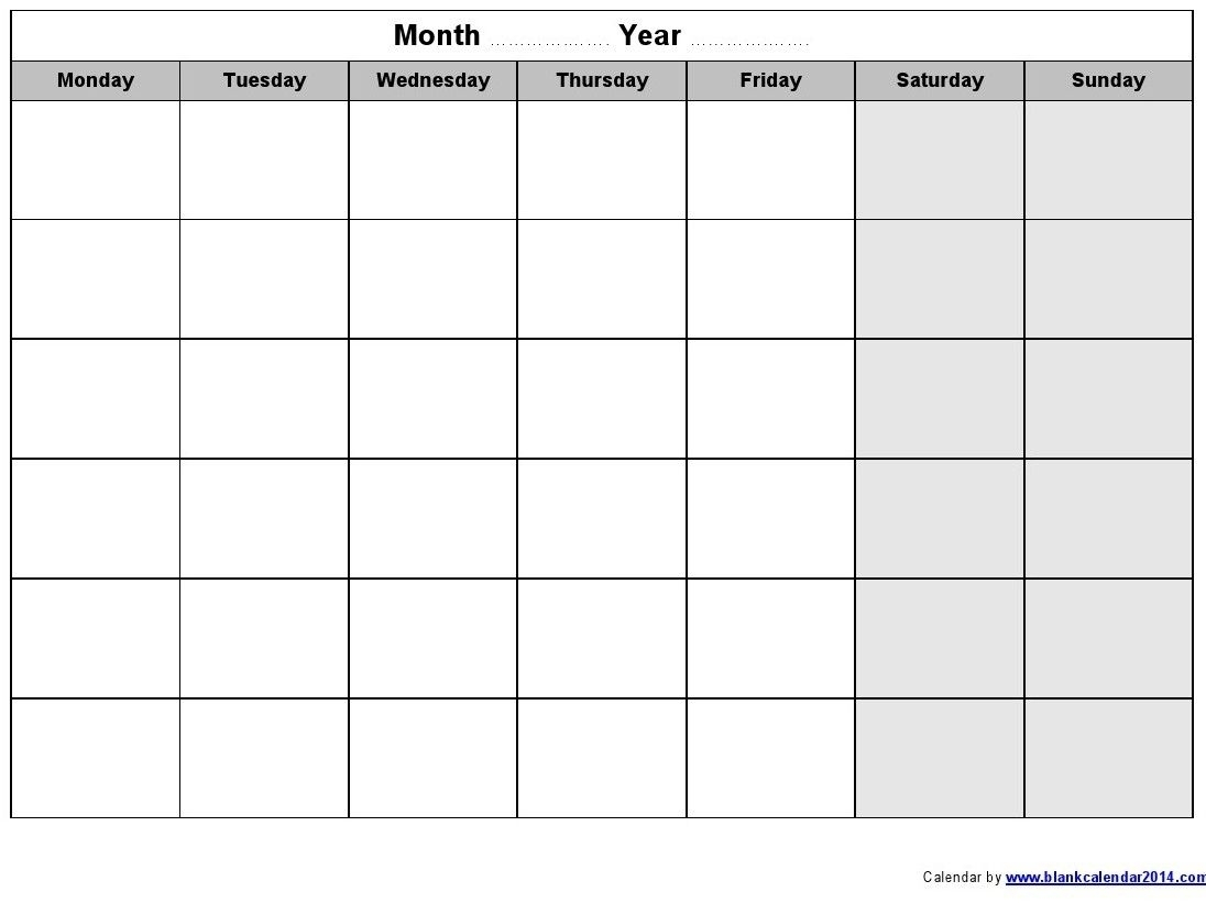 Monday – Friday Printable Blank Calendar | Monthly Printable within Calendar Monday Through Friday