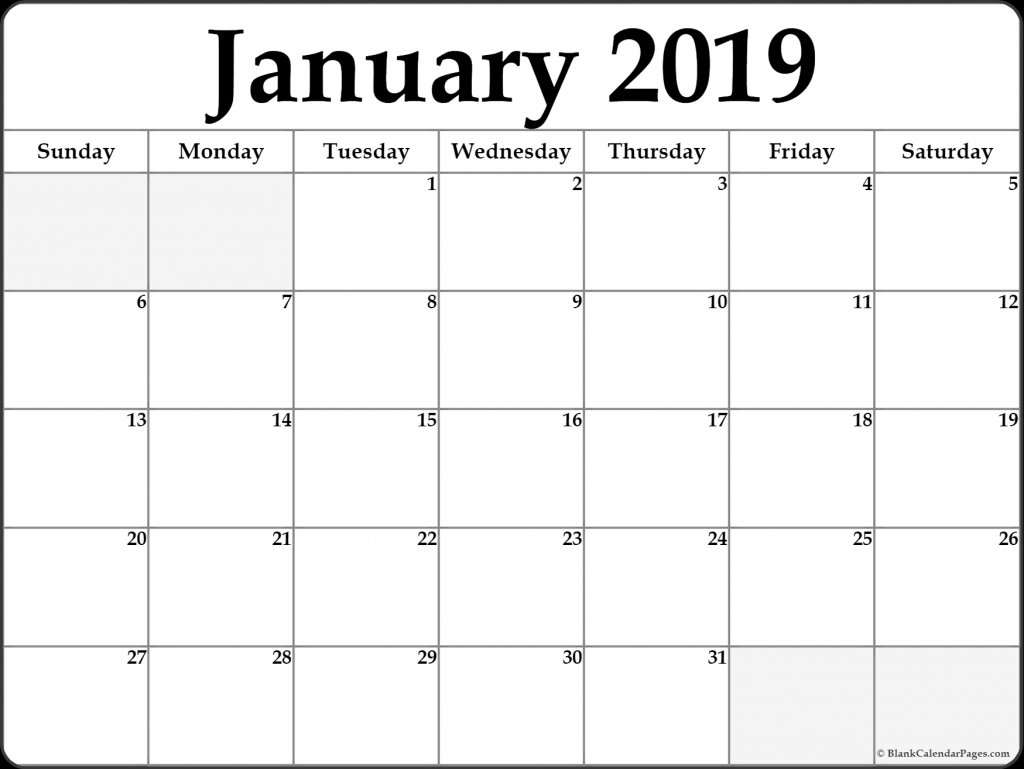 Monday Through Friday Calendar Template January 2019 for Calendar Monday Through Friday