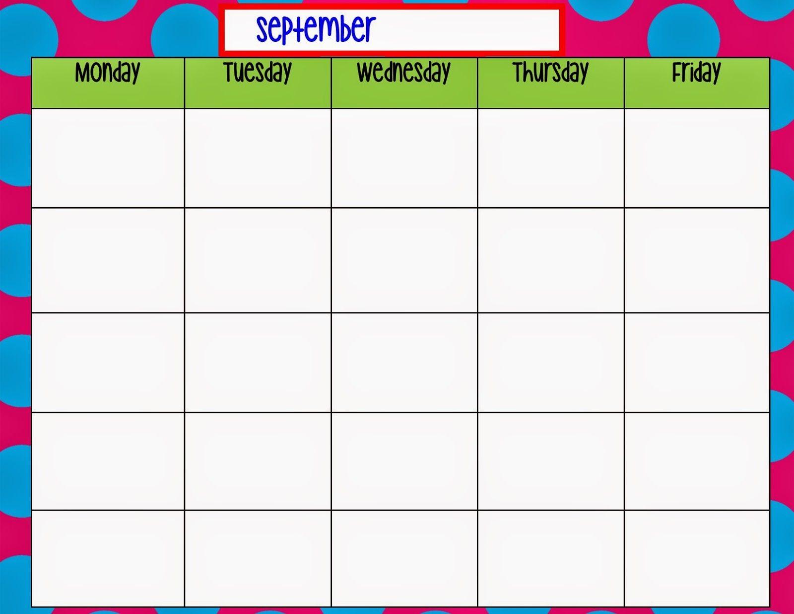 Monday Through Friday Calendar Template   Weekly Calendar within Monday To Sunday Calendar Template