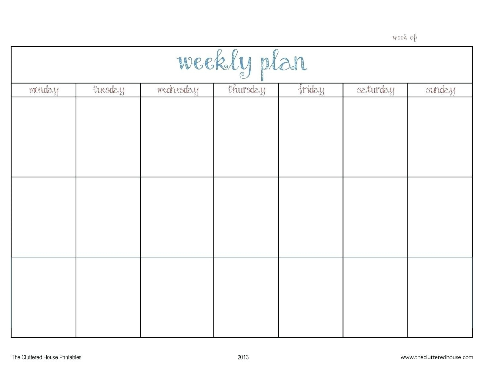 Monday Through Friday Calender Blank Template Printable throughout Monday Through Friday Calendar