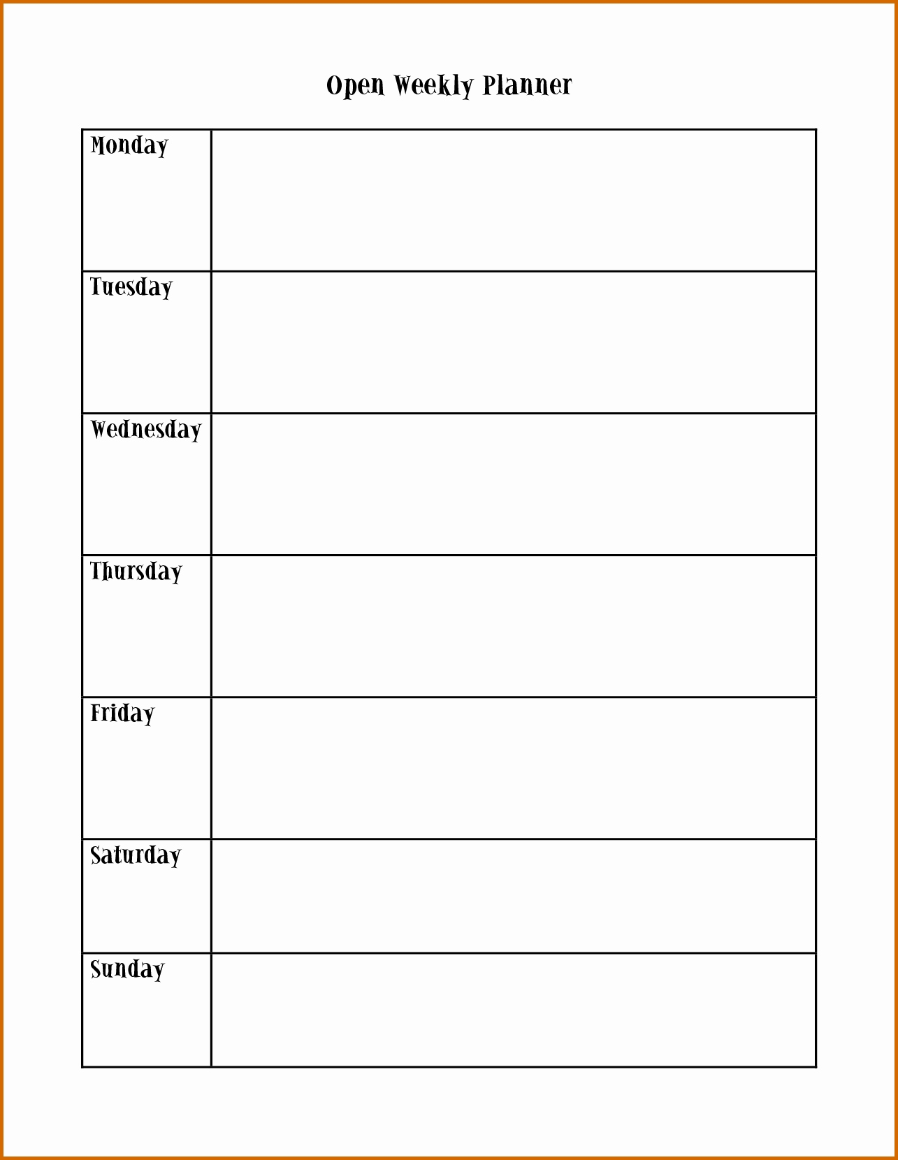 Monday To Friday Planner Template  Calendar Inspiration Design intended for Monday Through Saturday Schedule Template