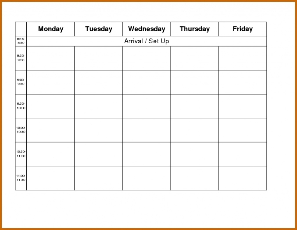 Monday To Friday Schedule Printable  Calendar Inspiration intended for Monday Through Saturday Schedule Template