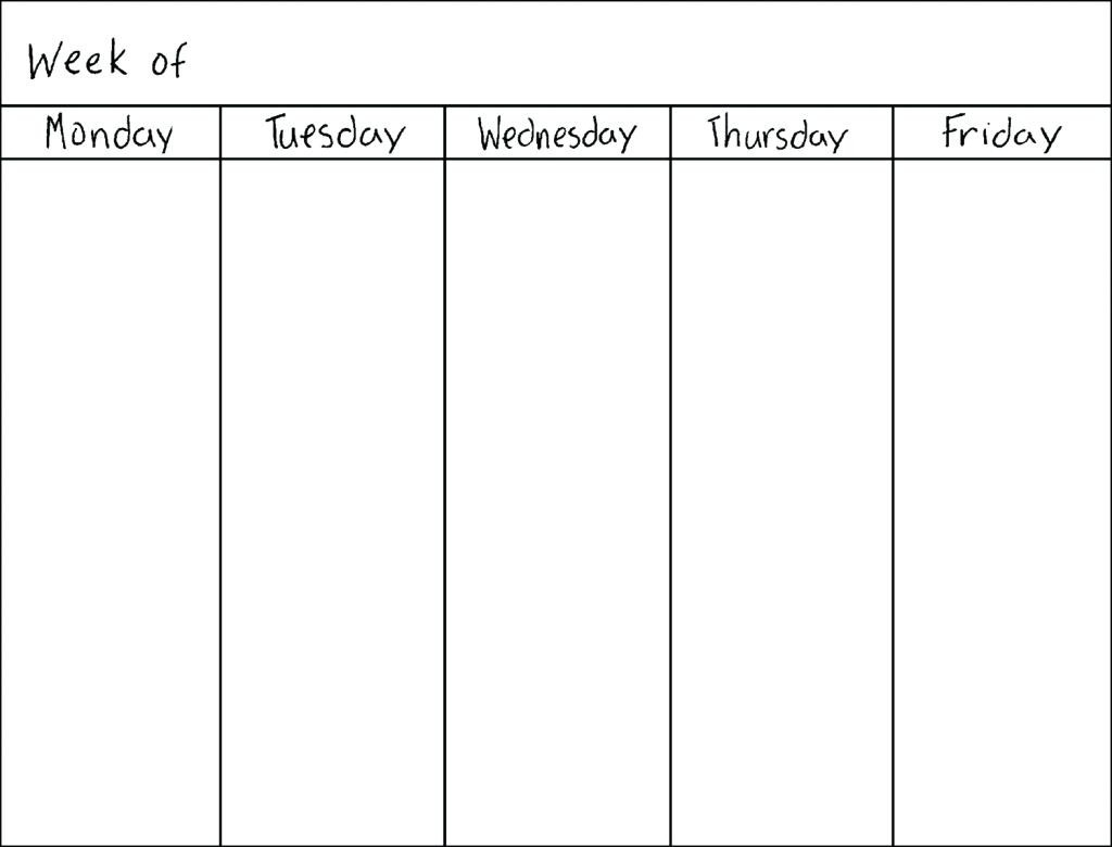 Monday To Friday Schedule Printable  Calendar Inspiration throughout Monday Thru Friday Calendar