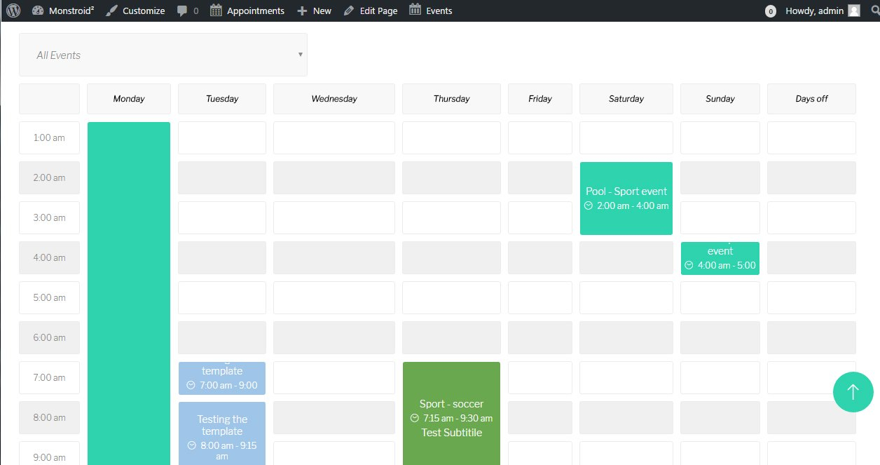 "Monstroid 2. ""timetable And Event Schedule"" Plugin Overview within Calendar Template Html Css"