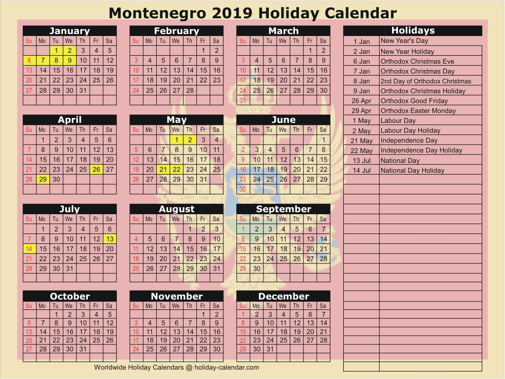 Montenegro 2019  2020 Holiday Calendar with National Day Calendar June 2020