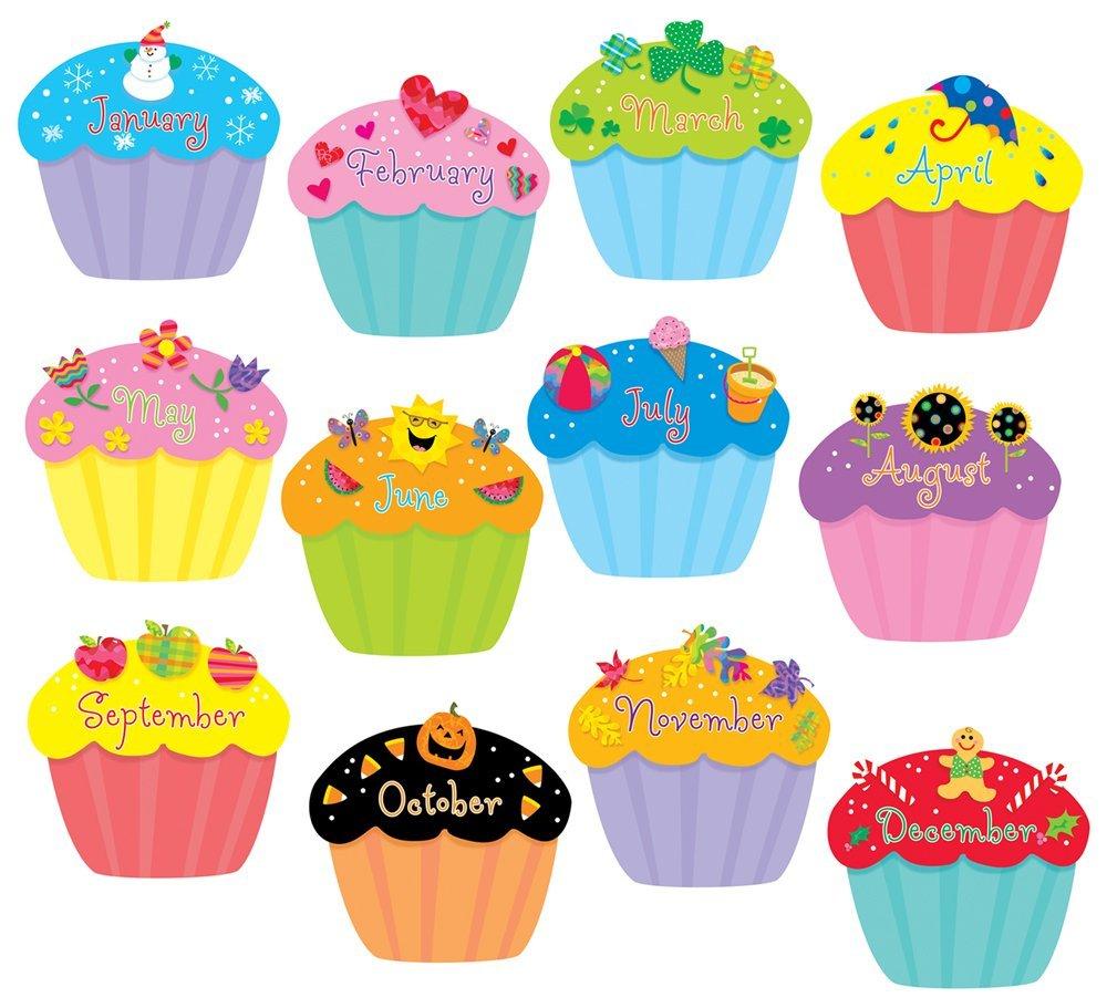 Month Birthday Cupcake Clipart throughout Free Printable Cupcake Birthday Chart