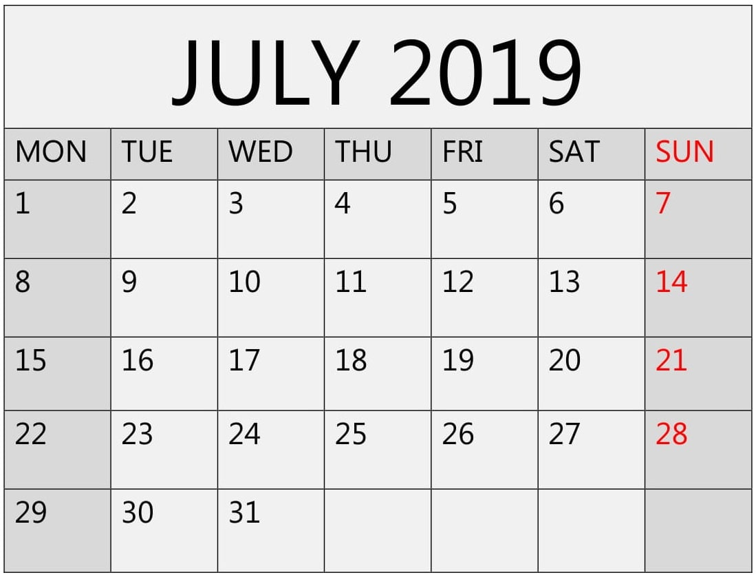 Month Of July 2019 Calendar For Word, Pdf And Excel  Latest pertaining to Wincalendar July 2020