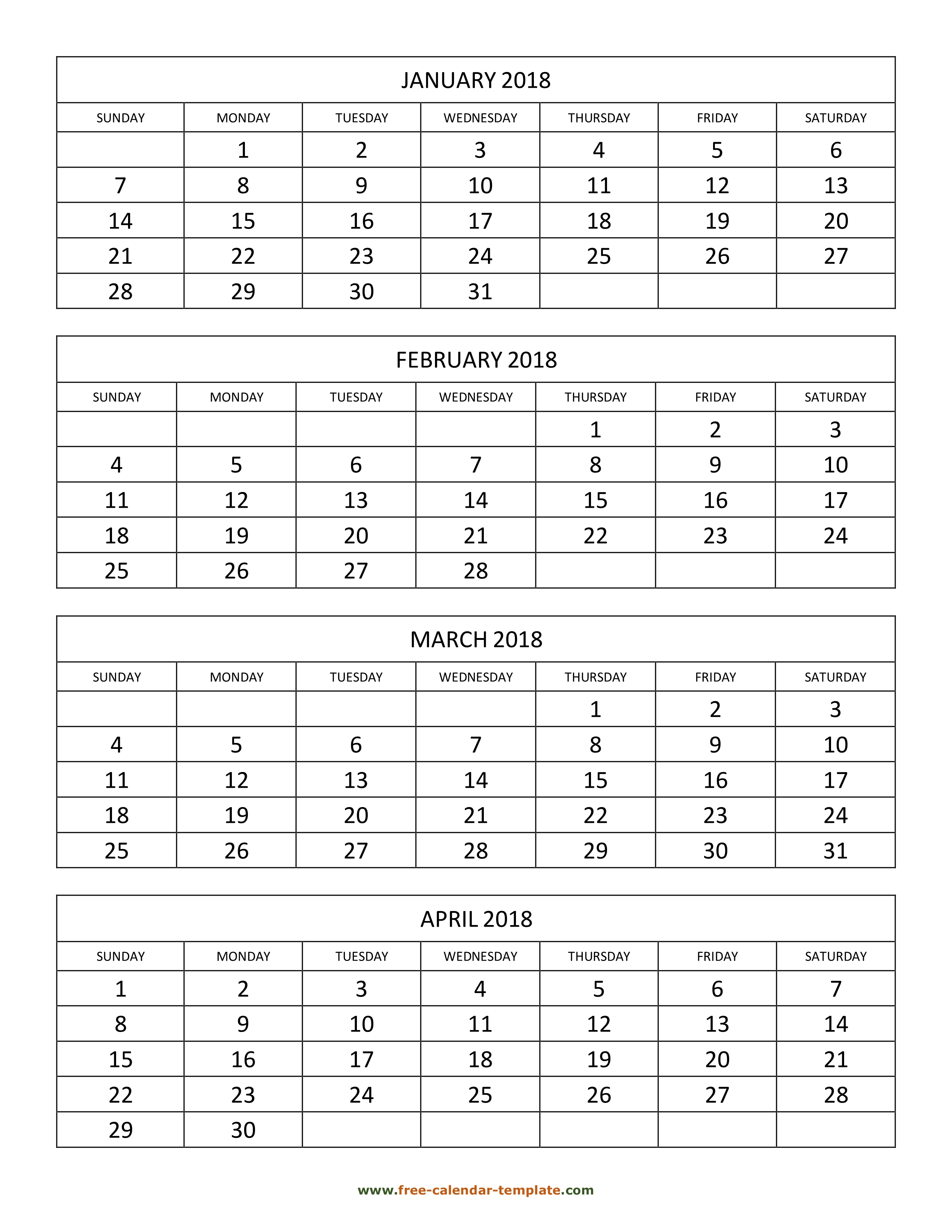 Monthly 2018 Calendar 4 Months Per Page (Vertical) | Free with Calendar 4 Months Per Page