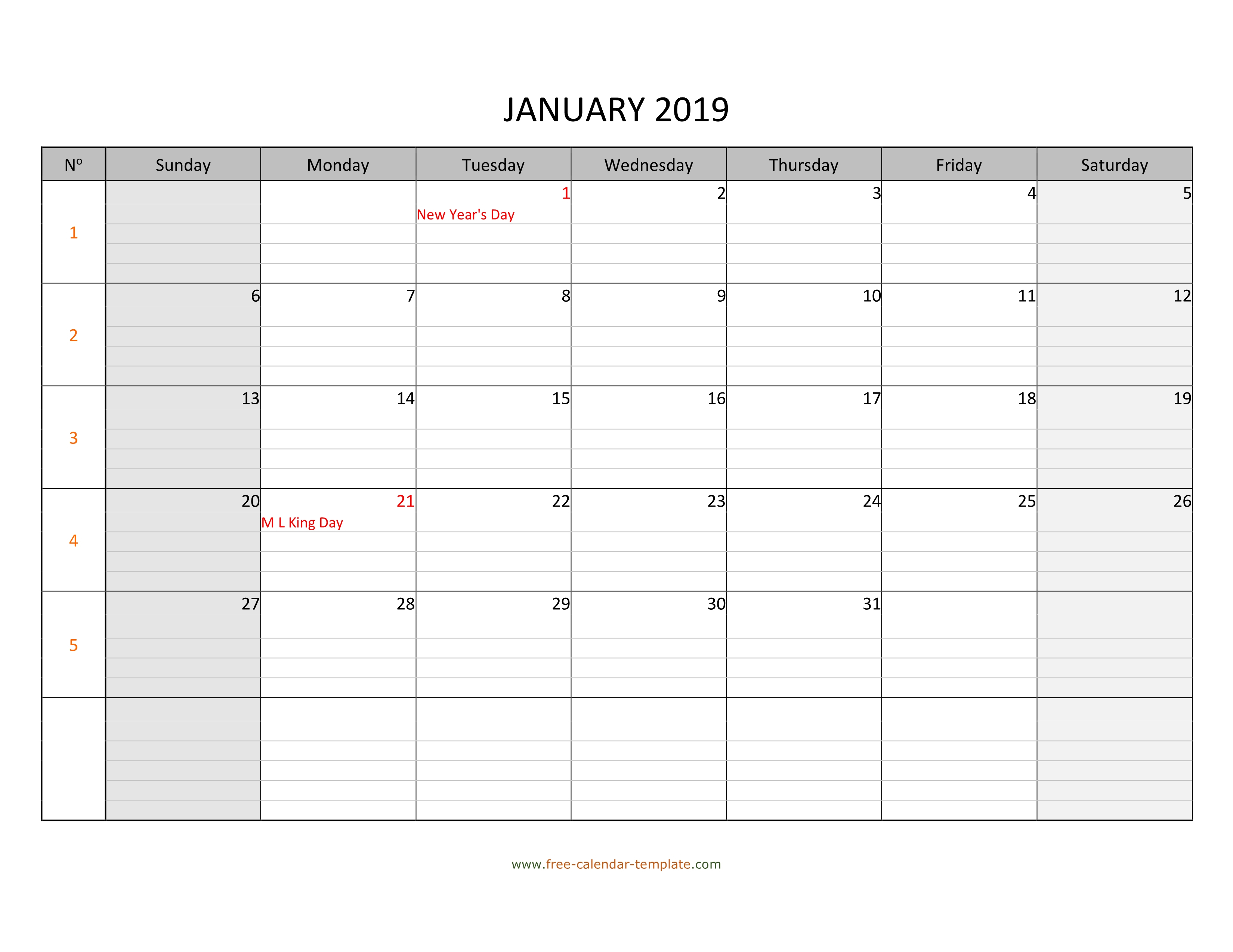 Monthly 2019 Calendar Free Printable With Grid Lines with Monday Through Sunday Calendar Template