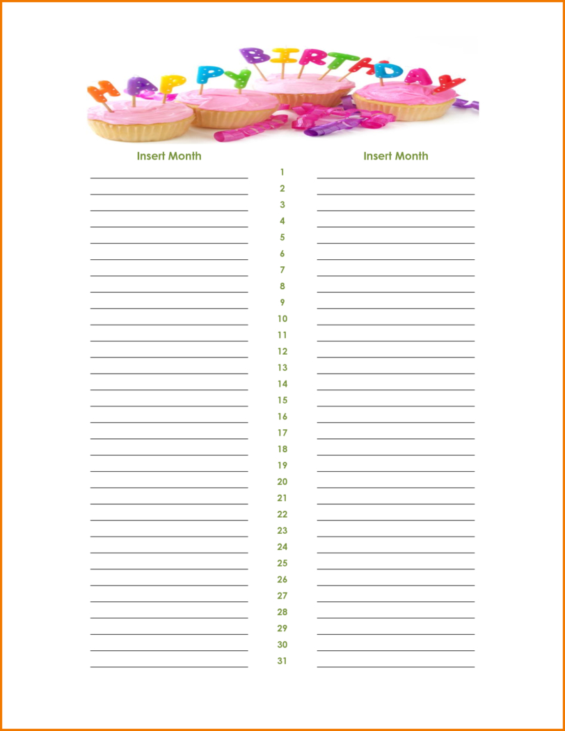 Monthly Birthday List : Easy To Use Birthday List Template within Monthly Birthday Calendar Template