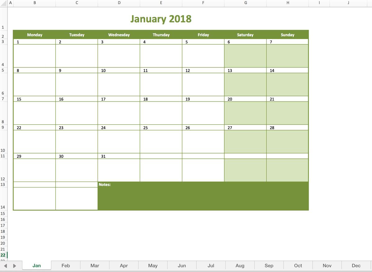 Monthly Calendar 2018 regarding Monthly Calendar In Excel