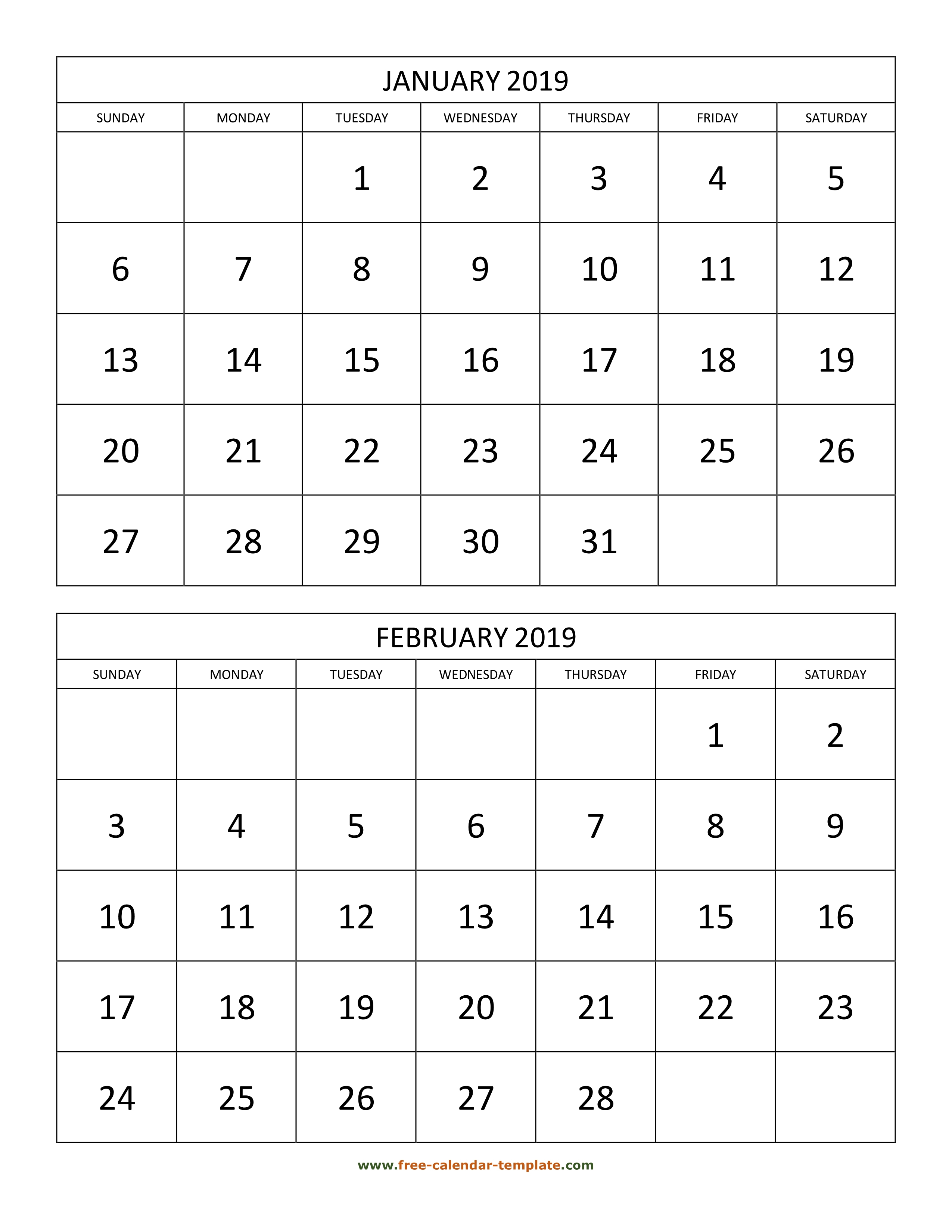 Monthly Calendar 2019, 2 Months Per Page (Vertical) | Free with Printable Calendar 2 Months Per Page