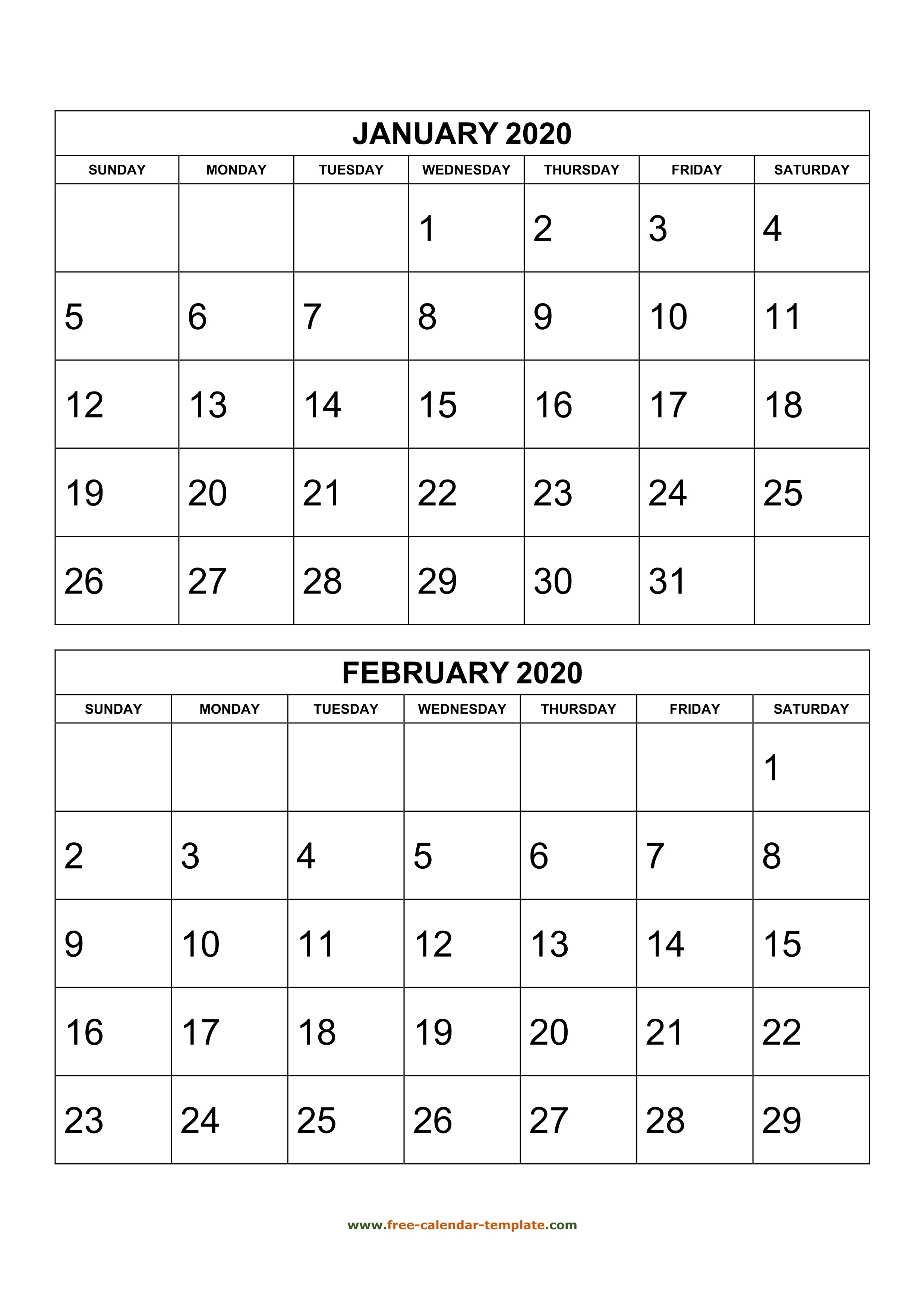 Monthly Calendar 2020, 2 Months Per Page (Vertical) | Free intended for Printable Calendar 3 Months Per Page