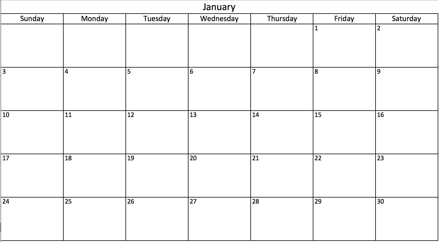 Monthly Calendar Excel – Printable Month Calendar for Excel Lunar Calendar Formula