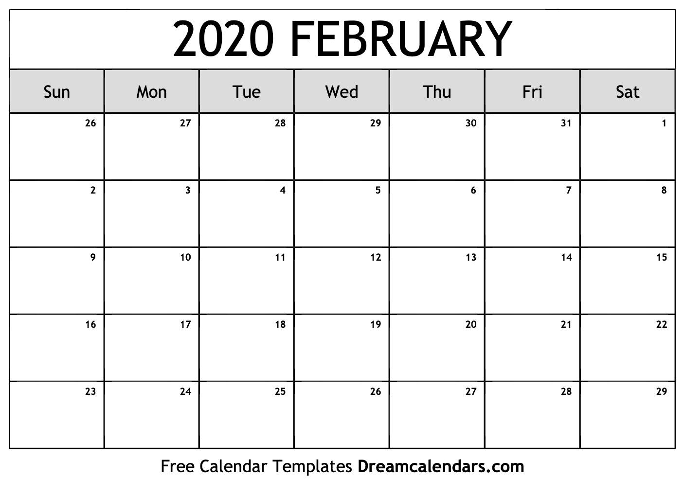Monthly Calendar February 2020 Printable  Bolan inside December 2020 Calendar Beta Calendars