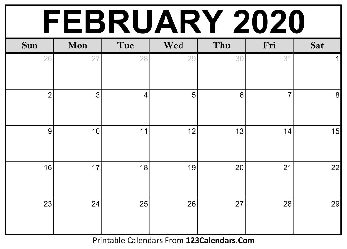 Monthly Calendar February 2020 Printable  Bolan intended for January 2020 Calendar 123Calendars