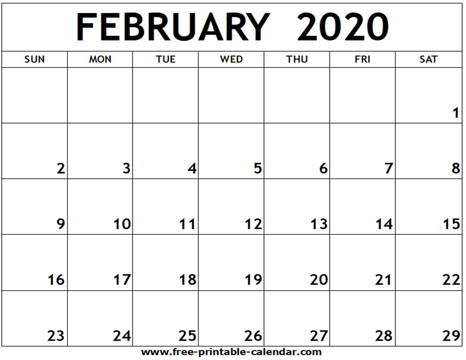 Monthly Calendar February 2020 Printable  Bolan intended for Monthly Calendar 2020 Printable
