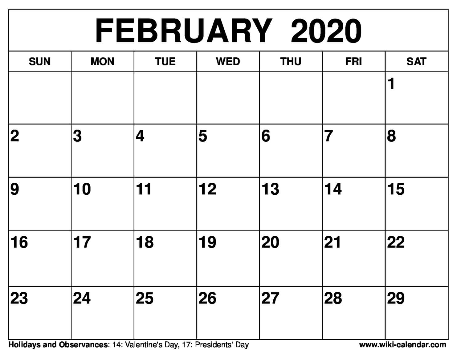 Monthly Calendar February 2020 Printable  Bolan with February 2020 Daily Calendar