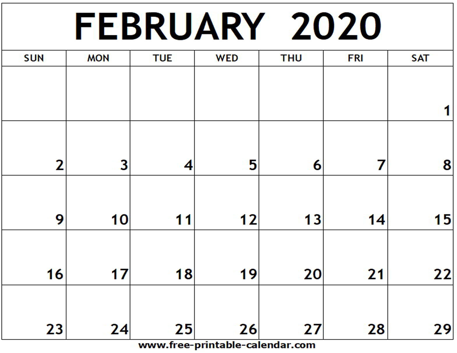 Monthly Calendar February 2020 Printable  Bolan with regard to 2020 Blank Calendar Pages