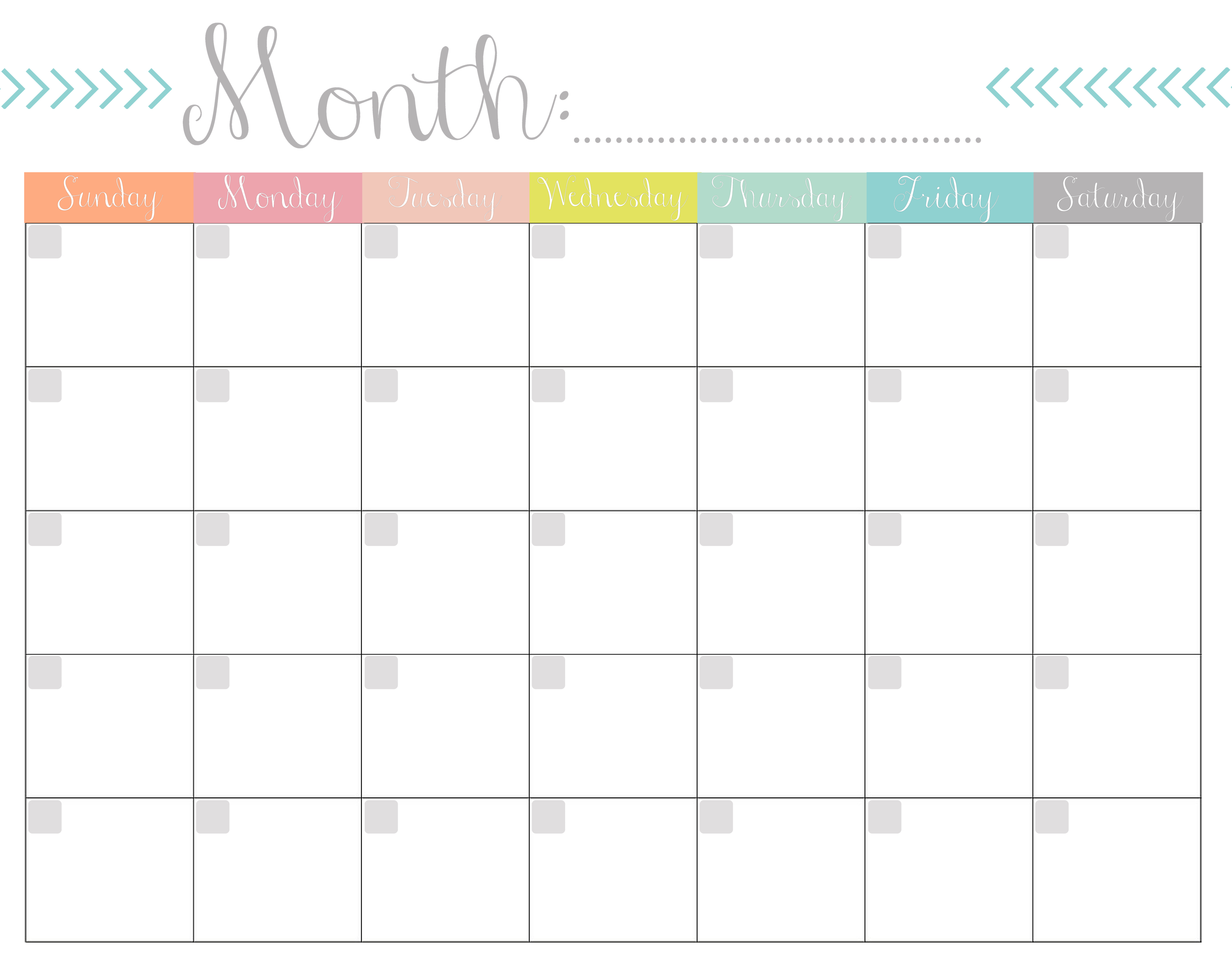 Monthly Calendar {Free Printable} within Free Monthly Calendars That Can Be Edited