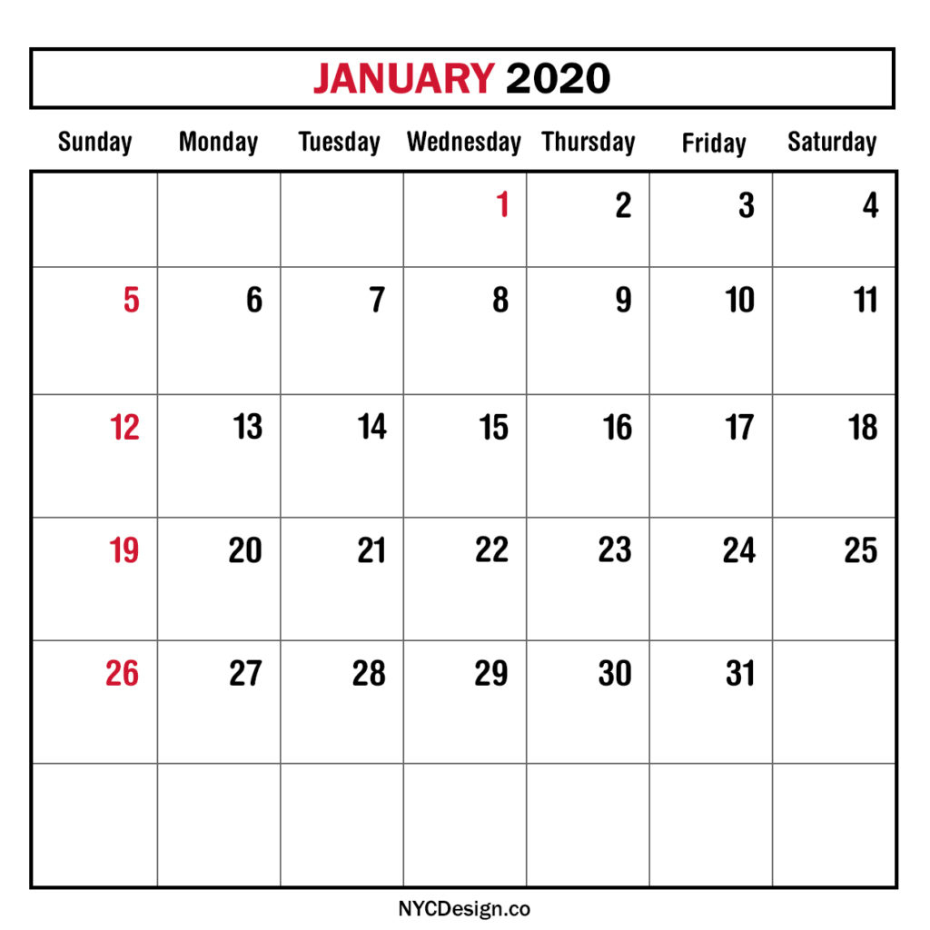 January 2020 Calendar Starting Monday