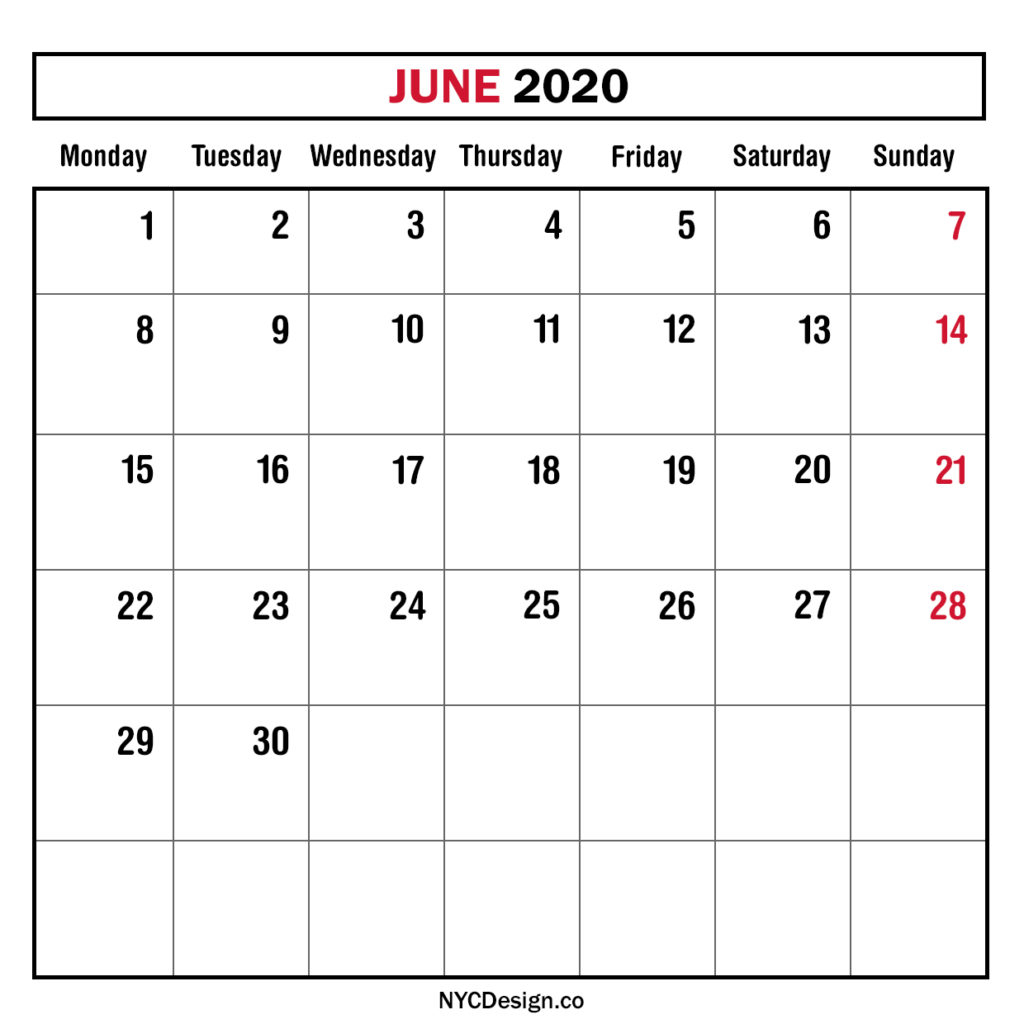 Monthly Calendar June 2020, Monthly Planner, Printable Free for Blank Calendar Starting With Monday
