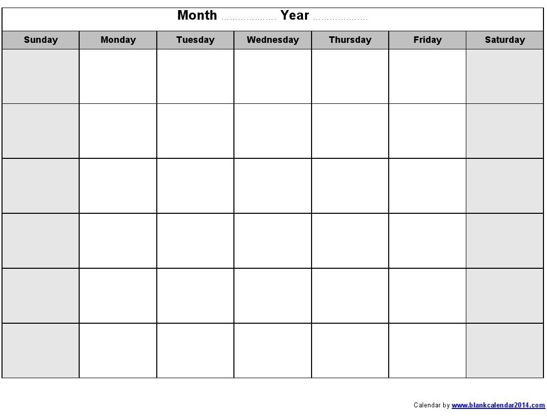 Monthly Calendar Printable | Templates Free Printable intended for Blank Sunday Through Saturday Calendar
