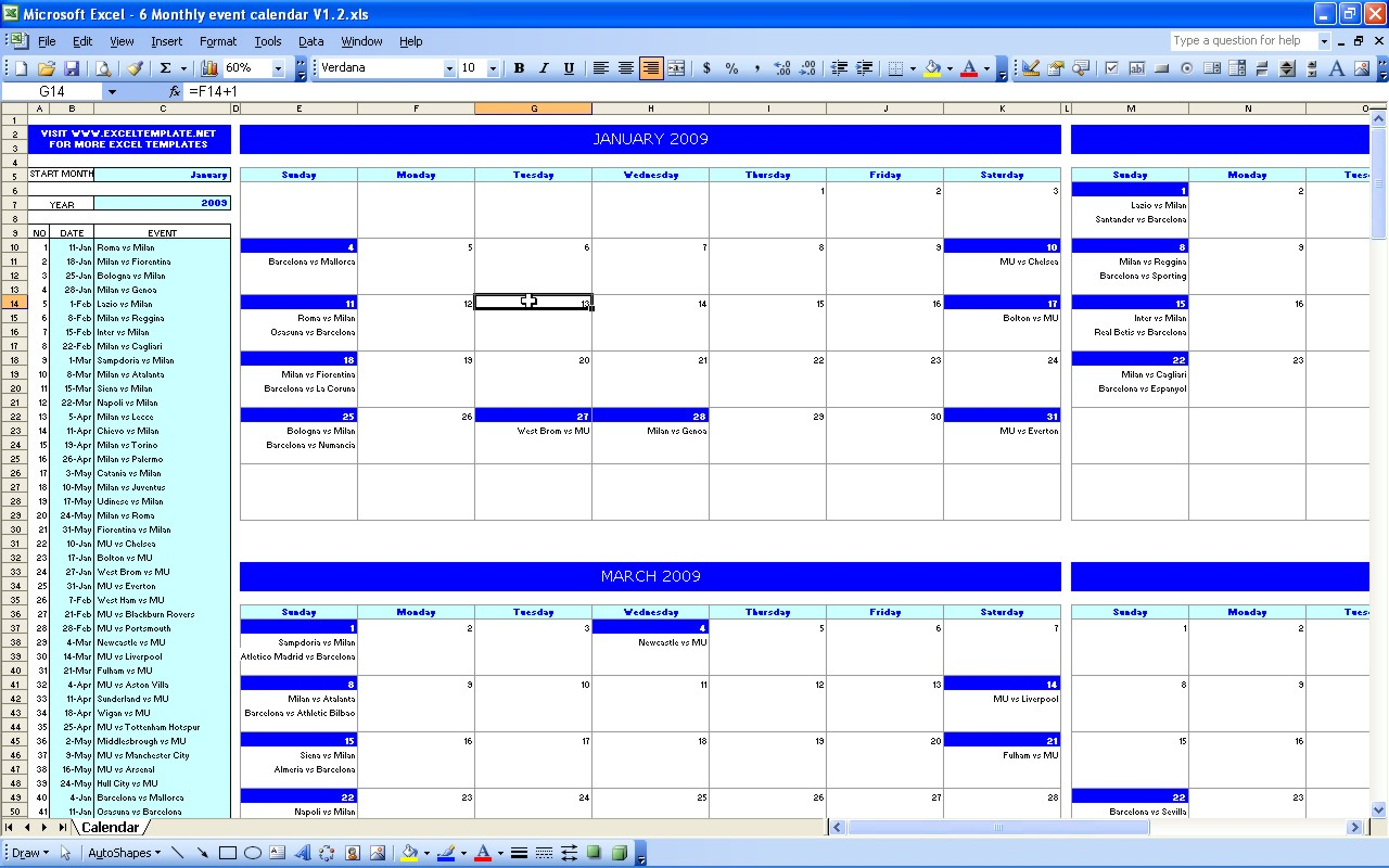 Monthly Event Calendar Template – Printable Week Calendar within Event Calendar Template Excel
