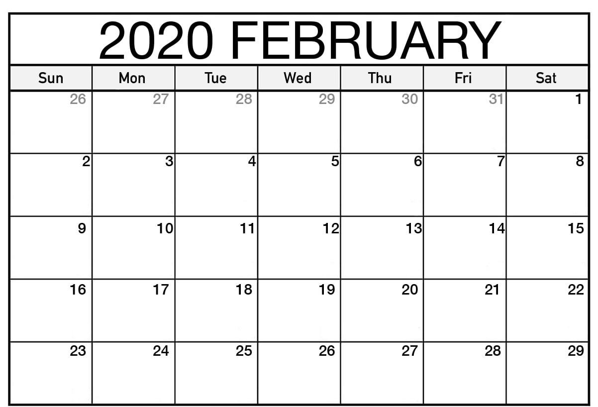 Monthly February 2020 Calendar  Blank Printable Template for February 2020 Daily Calendar