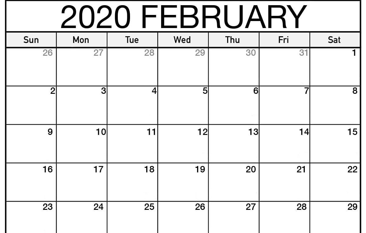 Monthly February 2020 Calendar  Blank Printable Template with February 2020 Daily Calendar