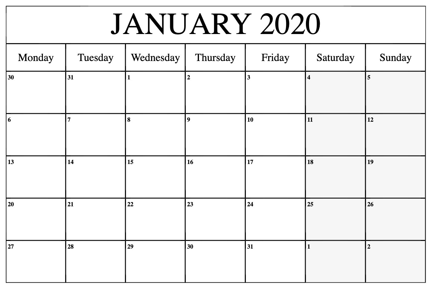 Monthly January 2020 Calendar Printable Pdf Word Excel intended for January 2020 Calendar Blank