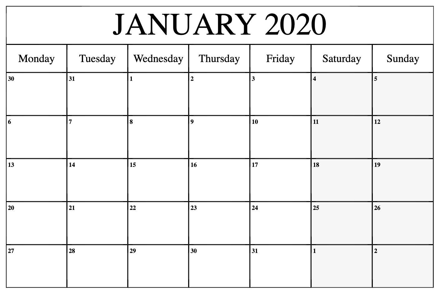 Monthly January 2020 Calendar Printable Pdf Word Excel regarding Jan 2020 Printable Calendar