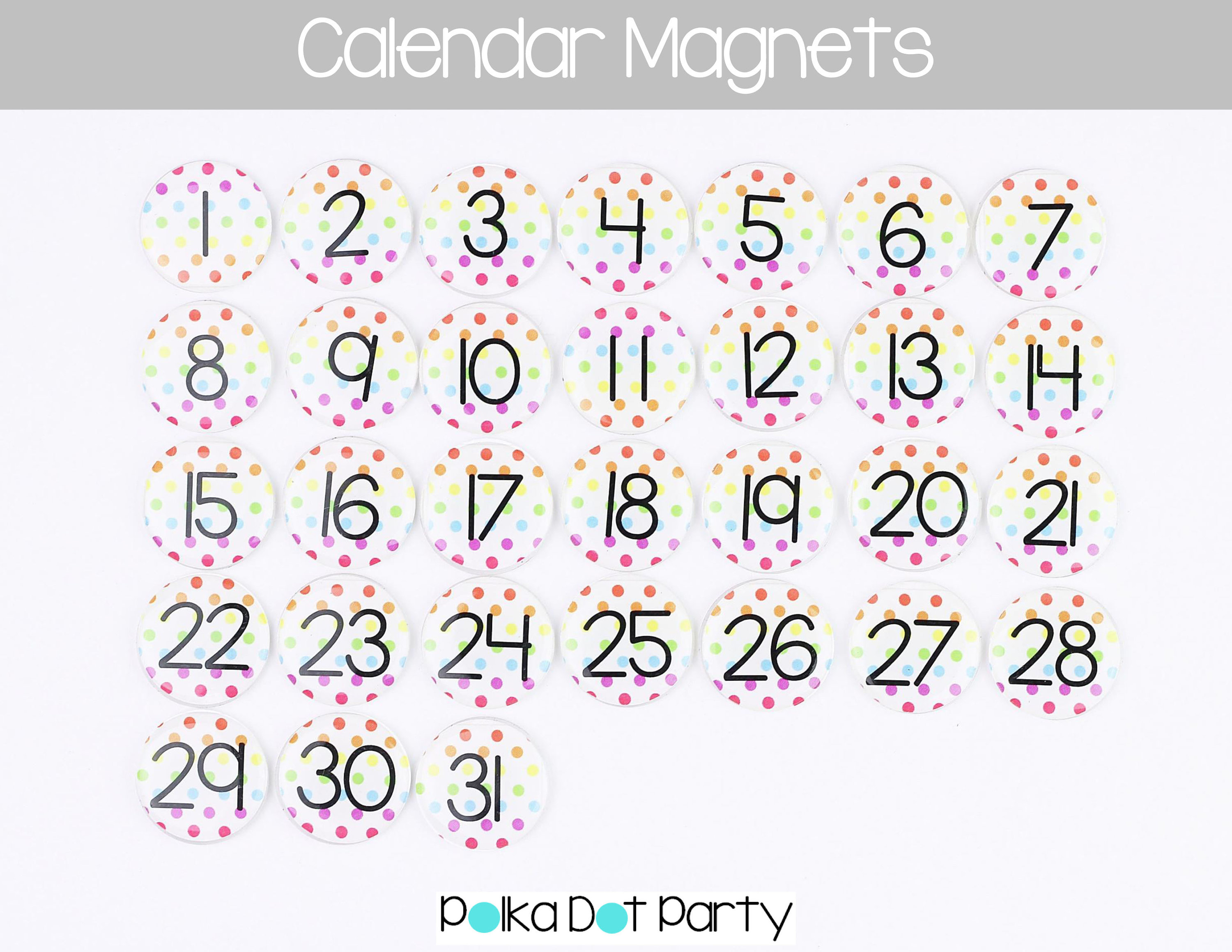 "Monthly Magnetic Calendar Numbers  Rainbow Dot, Epoxy Resin  1"" Size   Perpetual Calendar Magnets 131 with regard to Calendar Numbers 1-31 Printable"
