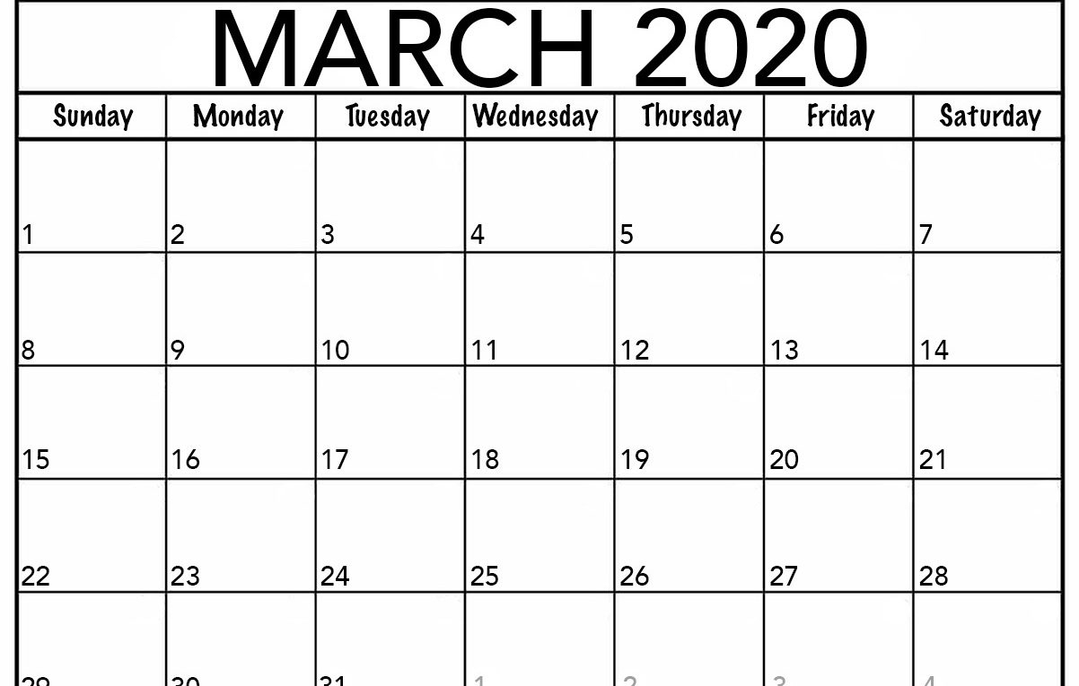 Monthly March 2020 Calendar – Blank Printable Template within Monthly Calendar 2020 Printable