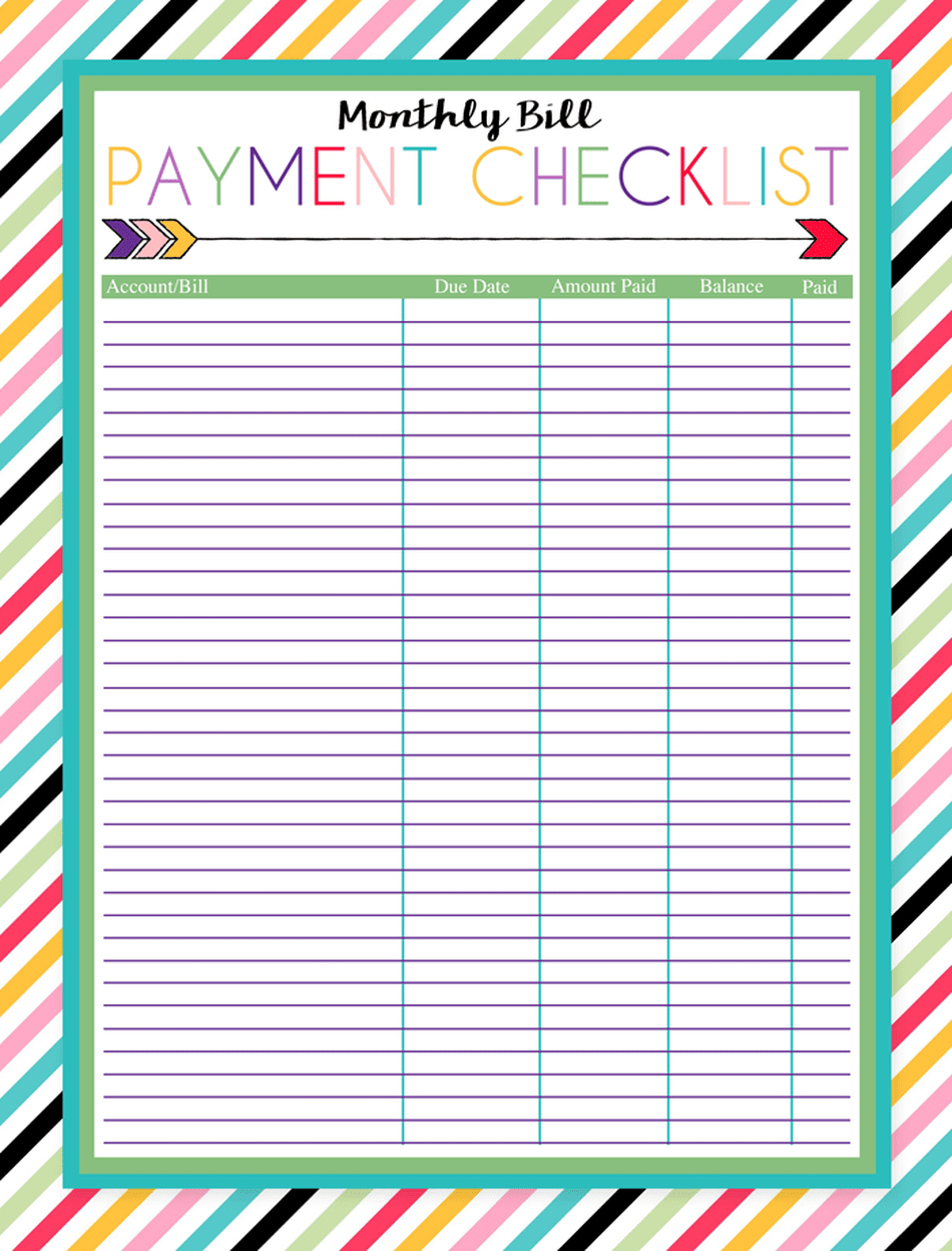 Monthly Payment Template  Bolan.horizonconsulting.co within Free Printable Bill Organizer