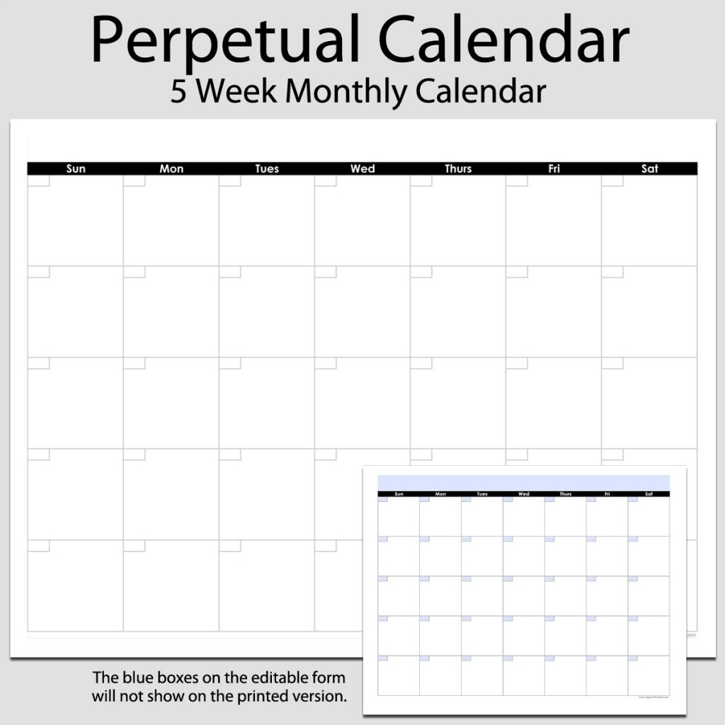 Monthly Perpetual Calendar In Landscape – 8 12″ X 11 for Printable Perpetual Monthly Calendar