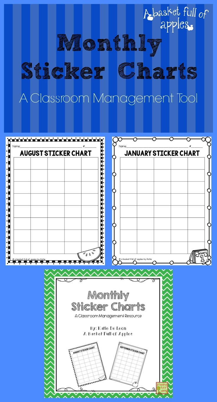 Monthly Sticker Charts  A Classroom Management Resource regarding Monthly Sticker Chart