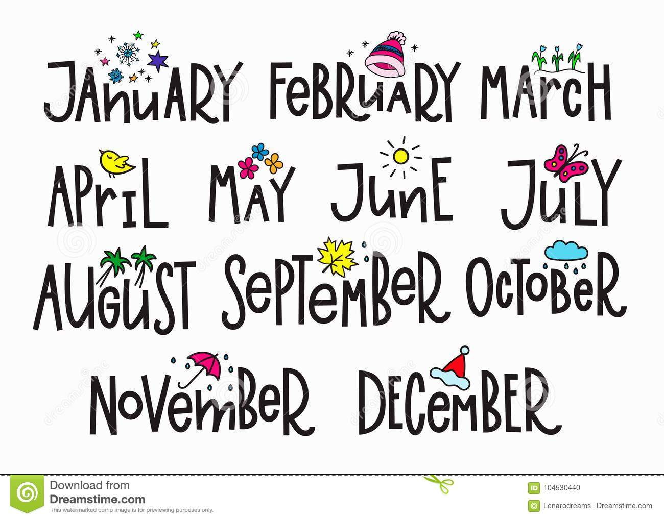 Months Year Calendar Lettering Typography Stock Illustration for November Decorated Calendar