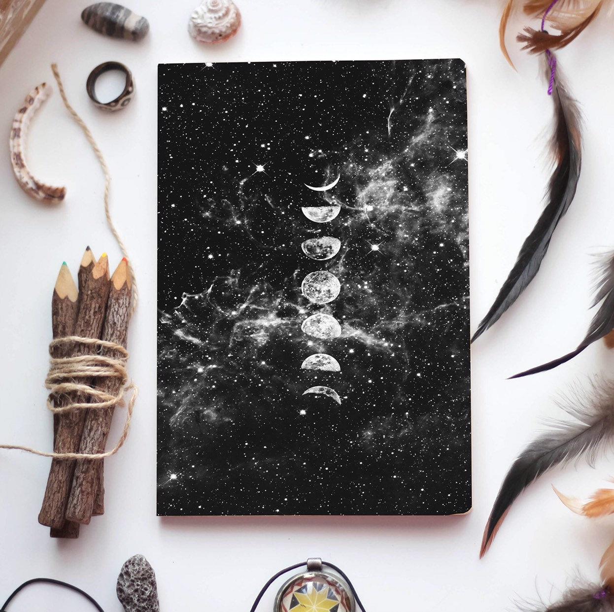 Moon Bullet Journal, Moon Notebook, Moon Phase Journal, Yoga Journal,  Bullet Journal Notebook, Moon Planner, Gift, Disry, Book Of Shadows for Om Journal Lunar Calendar