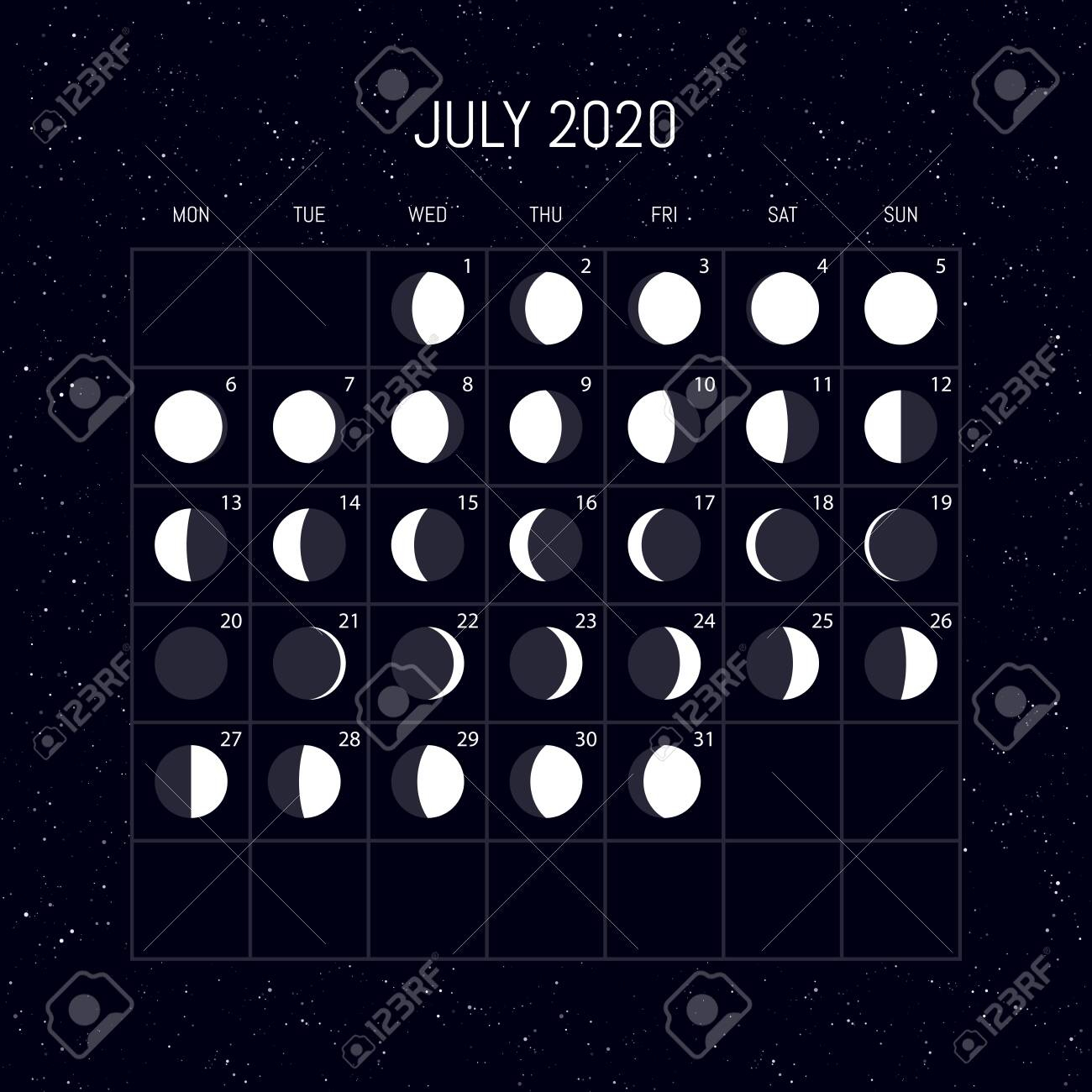 Moon Phases Calendar For 2020 Year. July. Night Background Design intended for July Of 2020
