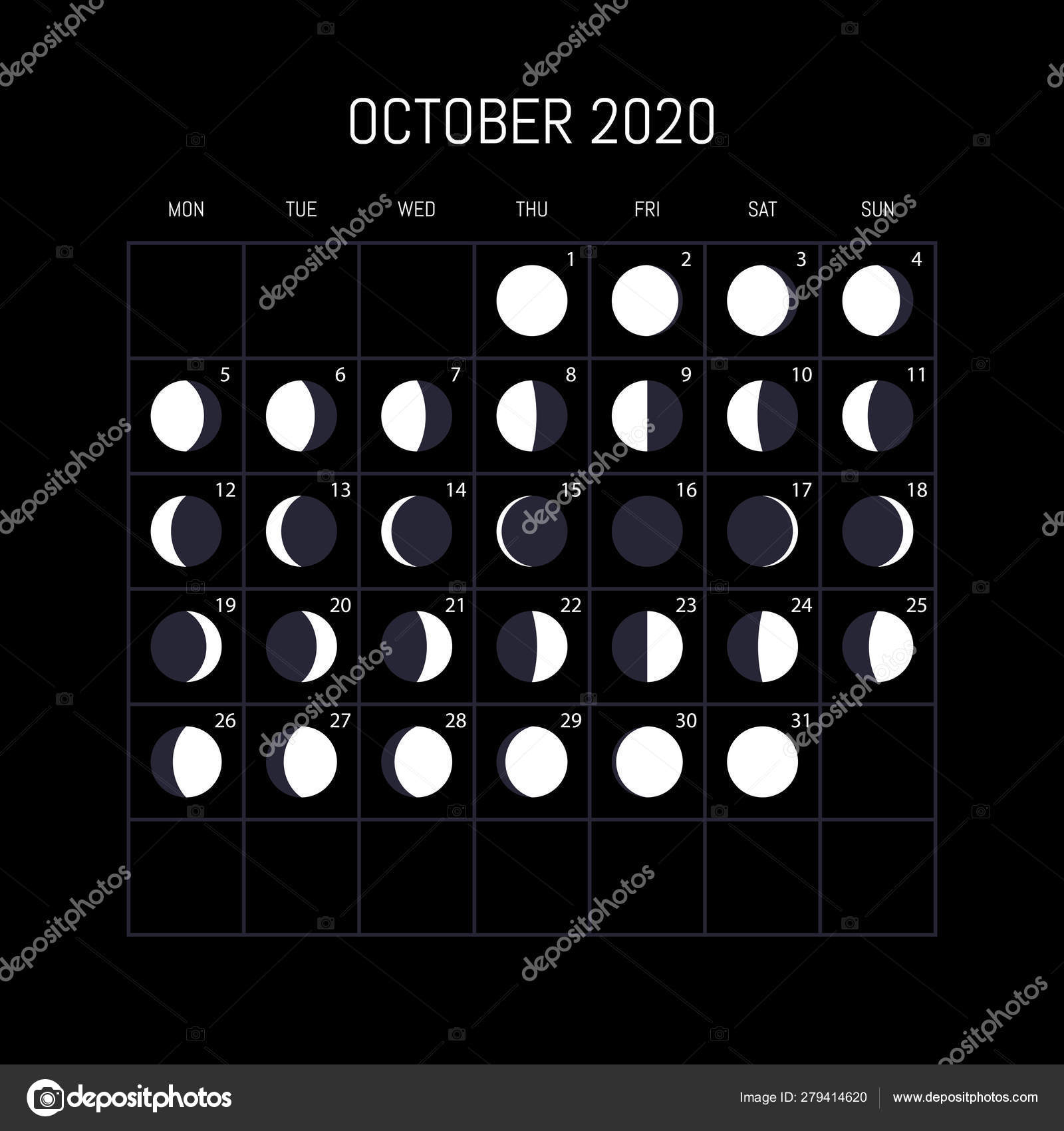 Moon Phases Calendar For 2020 Year. October. Night regarding Lunar Calendar October 2020