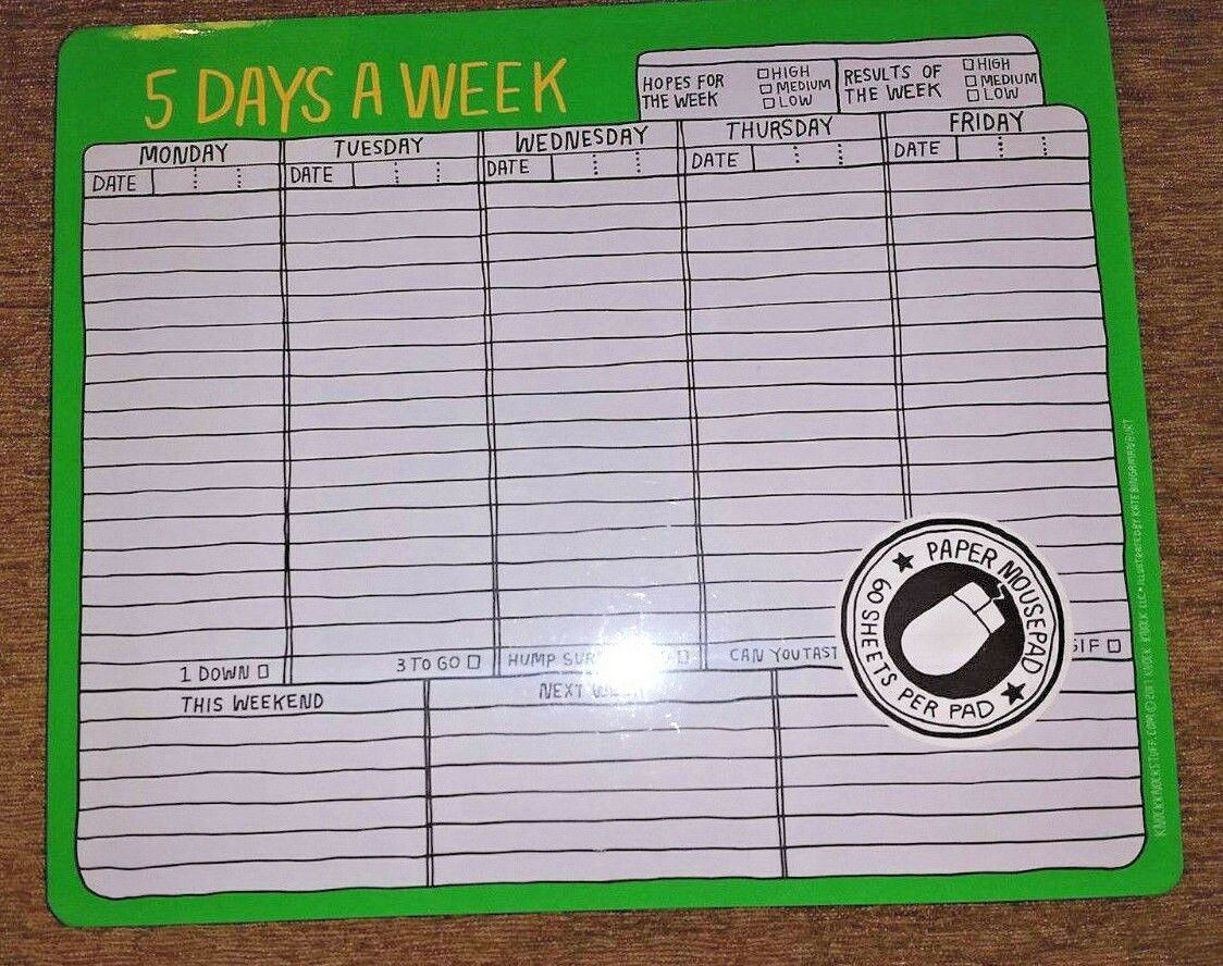 Mousepad Calendaragendaplanner By Knock Knock 5 Days A Week Qty 4 Pads inside 5 Days A Week Planner