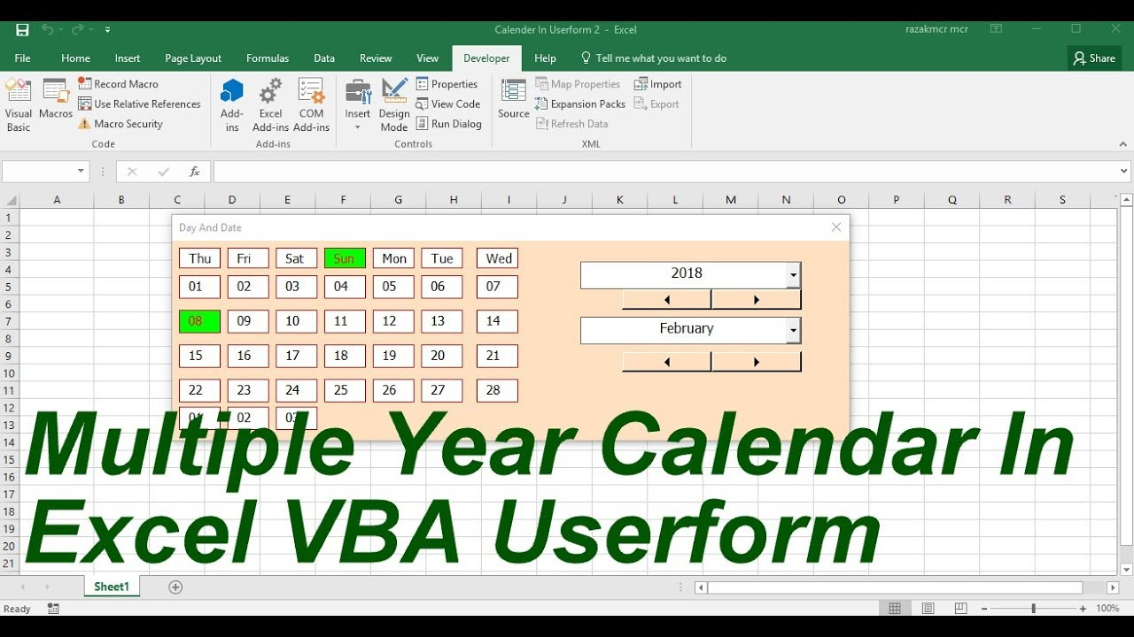 Multiple Year Calendar In Userform Excel Vba with Excel Vba Calendar